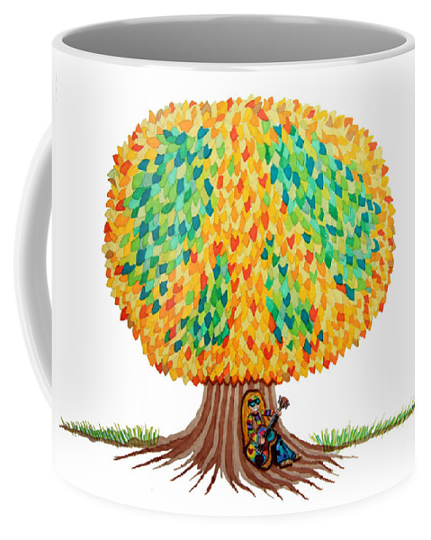 Peace Coffee Mug featuring the drawing Singing Under The Peace Tree by Nick Gustafson