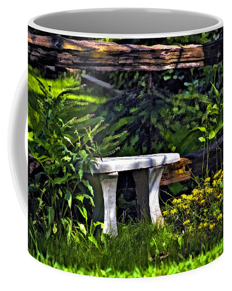 Landscape Coffee Mug featuring the photograph Sit A Spell by Steve Harrington