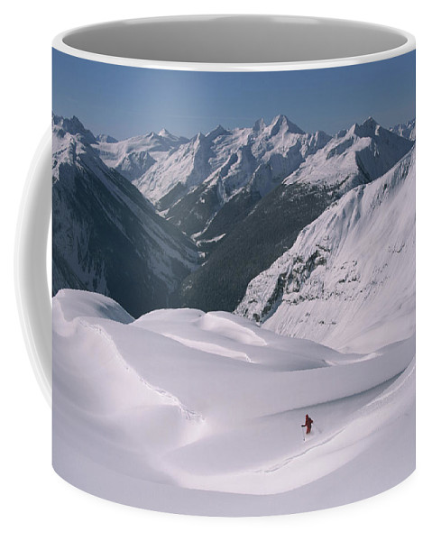 Model Released Photography Coffee Mug featuring the photograph Skier Phil Atkinson Heads Down Mount by Tim Laman