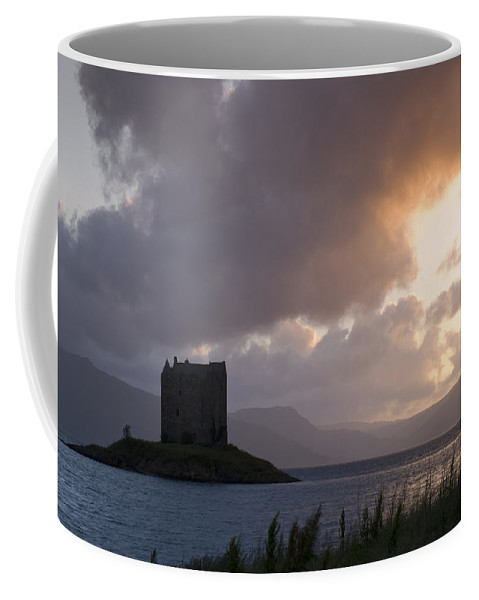 Castle Coffee Mug featuring the photograph Skies Ablaze At Castle Stalker by Howard Kennedy