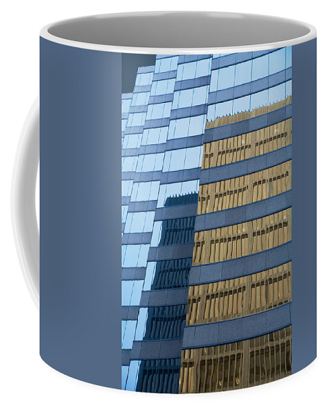Art Coffee Mug featuring the photograph Sky Scraper Tall Building Abstract With Windows And Reflections No.0102 by Randall Nyhof