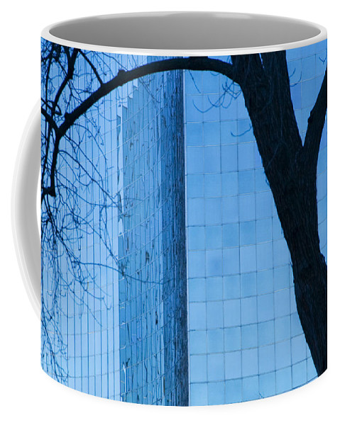 Art Coffee Mug featuring the photograph Sky Scraper Tall Building Abstract With Windows Tree And Reflections No.0066 by Randall Nyhof