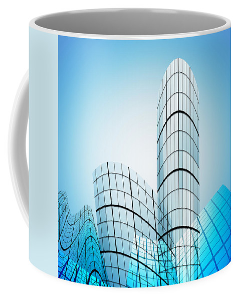 Abstract Coffee Mug featuring the photograph Skyscrapers In The City by Setsiri Silapasuwanchai