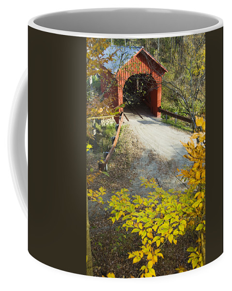 Architecture Coffee Mug featuring the photograph Slaughter House Bridge And Fall Colors by James Forte