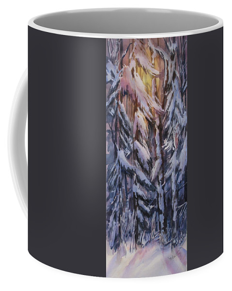 Snow Coffee Mug featuring the painting Snow Splattered 1 by Mohamed Hirji
