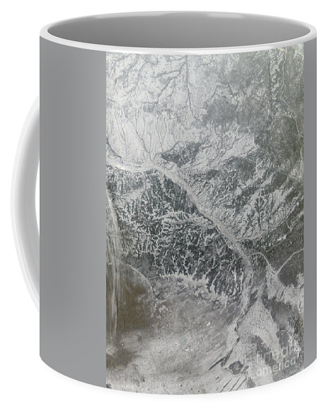 Tributary Coffee Mug featuring the photograph Snowy And Hazy Central Russia Showing by Stocktrek Images