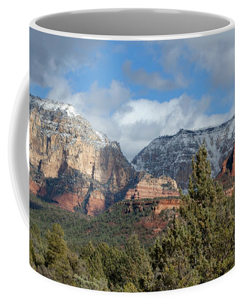 Southwest Coffee Mug featuring the photograph Snowy Sedona Afternoon by Sandra Bronstein