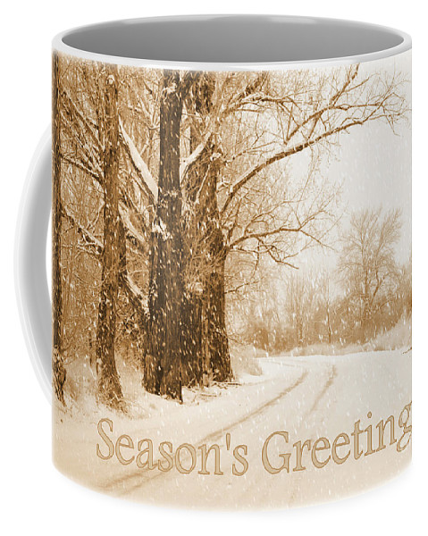 Christmas Card Coffee Mug featuring the photograph Soft Sepia Season's Greetings Card by Carol Groenen