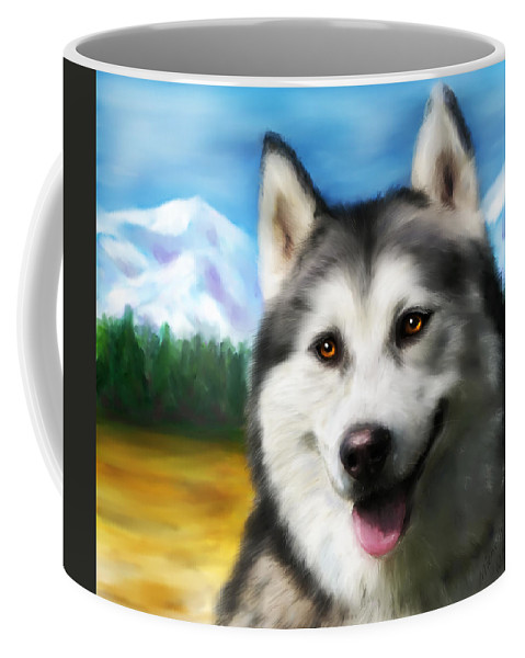Siberian Husky Coffee Mug featuring the painting Smiling Siberian Husky Painting by Michelle Wrighton