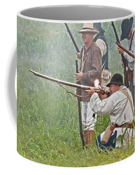 Reenactors Coffee Mug featuring the mixed media Soldier Fires by Kim Henderson
