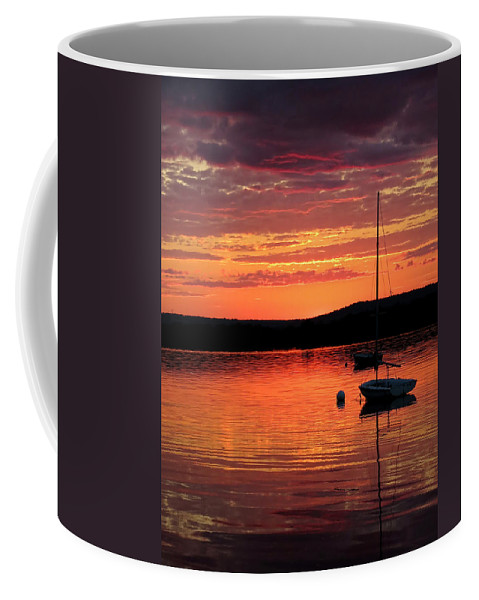 Clouds Coffee Mug featuring the photograph Solitary Sailboat At Sundown by Mark Sellers