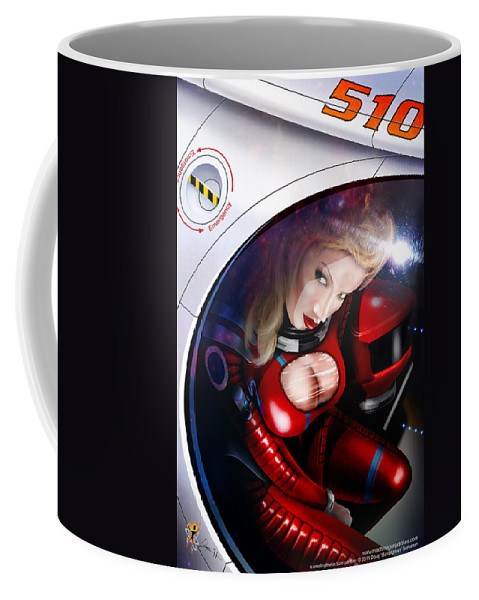 Space Coffee Mug featuring the digital art Space Girl by Doug Schramm