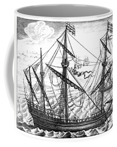 1595 Coffee Mug featuring the photograph Spanish Ship, C1595 by Granger