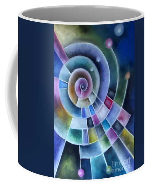 Colourful Coffee Mug featuring the pastel Spinning by Caroline Peacock