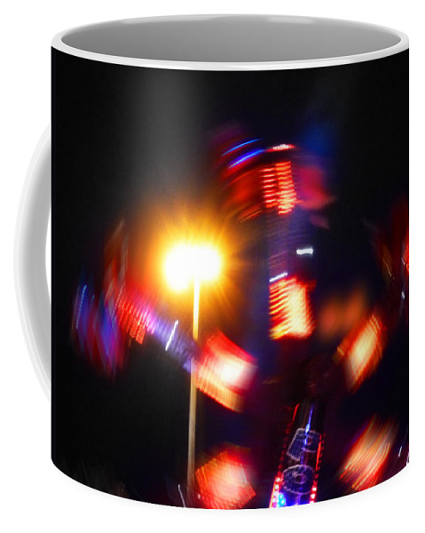 Fairground Abstract Coffee Mug featuring the digital art Spinning Ride by Charles Stuart