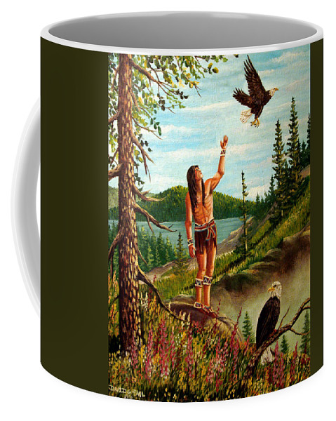 Eagle Coffee Mug featuring the painting Spirit of the Eagle by David G Paul