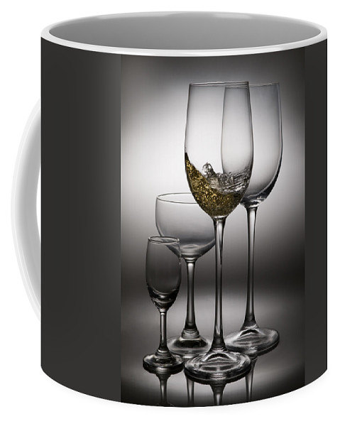 Abstract Coffee Mug featuring the photograph Splashing Wine In Wine Glasses by Setsiri Silapasuwanchai
