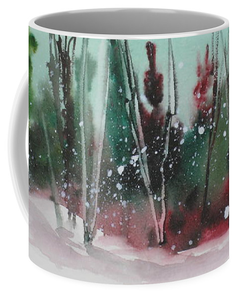 Snow Coffee Mug featuring the painting Spring Snowfall by Mohamed Hirji