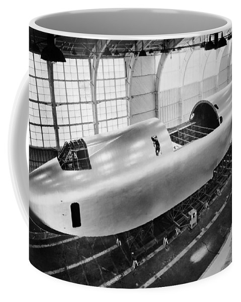 1940's Coffee Mug featuring the photograph Spruce Goose Hull Construction by Underwood Archives