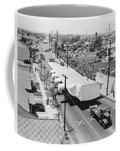 1940's Coffee Mug featuring the photograph Spruce Goose Wing On The Move by Underwood Archives
