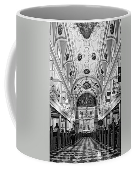 French Quarter Coffee Mug featuring the photograph St. Louis Cathedral Monochrome by Steve Harrington