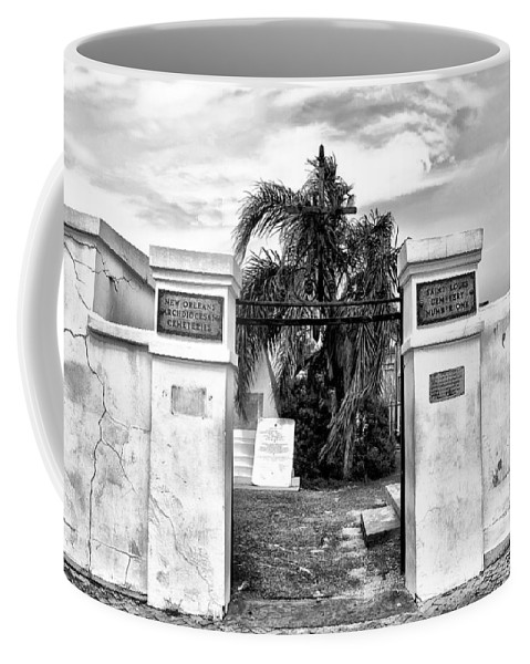 Tomb Coffee Mug featuring the photograph St Louis Cemetery Gate - New Orleans by Bill Cannon