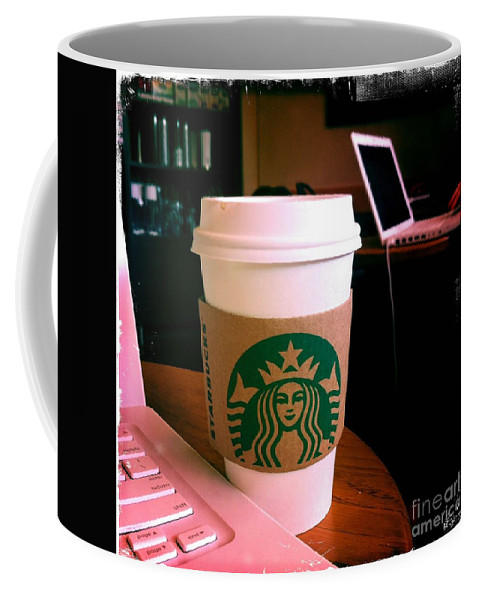 Starbucks Coffee Mug featuring the photograph Starbucks And Computers by Nina Prommer
