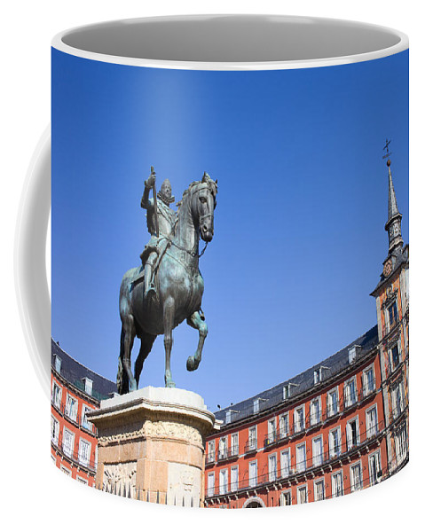 Madrid Coffee Mug featuring the photograph Statue Of King Philip IIi At Plaza Mayor by Artur Bogacki