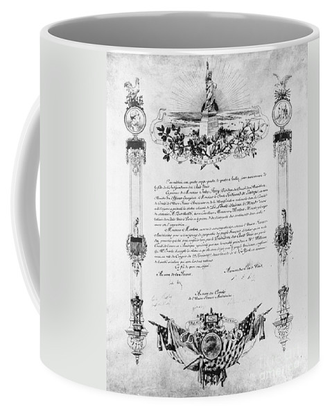 19th Century Coffee Mug featuring the photograph Statue Of Liberty: Deed by Granger