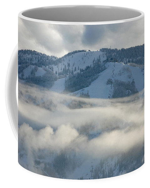Clouds Coffee Mug featuring the photograph Steamboat Ski Area In Clouds by Don Schwartz
