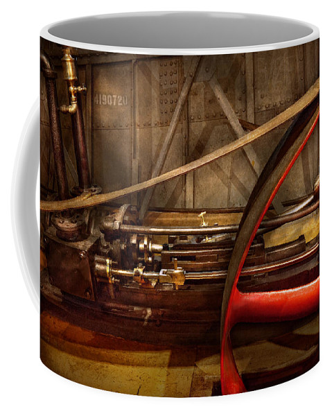 Steampunk Coffee Mug featuring the photograph Steampunk - Machine - The Wheel Works by Mike Savad