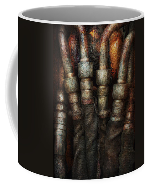 Hdr Coffee Mug featuring the photograph Steampunk - Pipes by Mike Savad