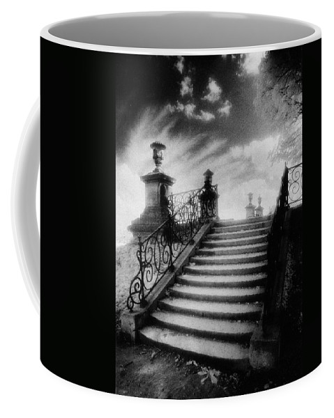 French Architecture; Outdoors; Staircase; Balustrade Coffee Mug featuring the photograph Steps At Chateau Vieux by Simon Marsden