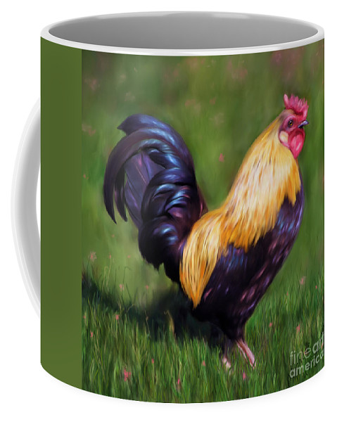 Chickens Coffee Mug featuring the painting Stewart The Bantam Rooster by Michelle Wrighton