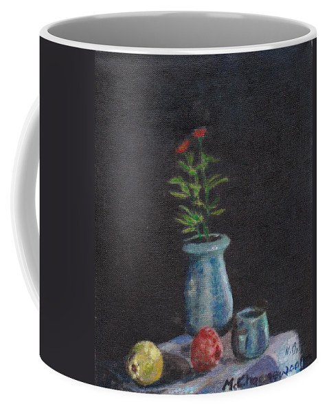 Still Life Coffee Mug featuring the painting Still Life Flowers And Fruit by Charles McChesney