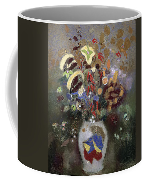 Oriental; Symbolist; Vase Au Guerrier Japonais Coffee Mug featuring the painting Still Life Of A Vase Of Flowers by Odilon Redon