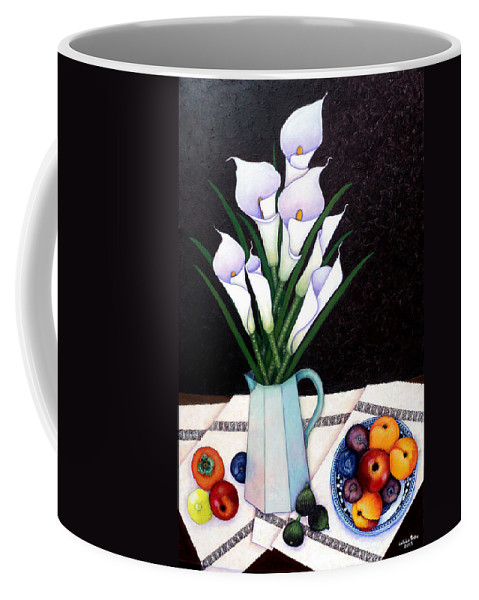 Lilium Calas Coffee Mug featuring the painting Still Life With Callas by Madalena Lobao-Tello