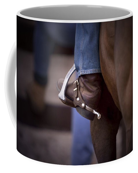 Horse Coffee Mug featuring the photograph Stockhorse And Spurs by Michelle Wrighton