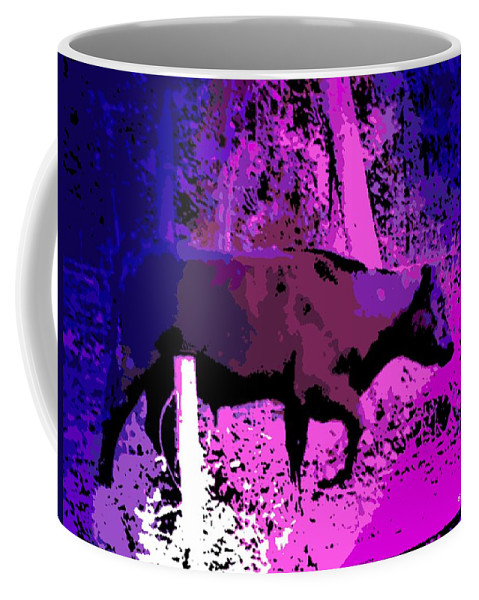 Bull Coffee Mug featuring the photograph Stomping Through The Garden. by George Pedro