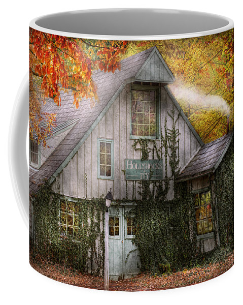 Autumn Coffee Mug featuring the photograph Store - Hollyhocks And Ivy by Mike Savad