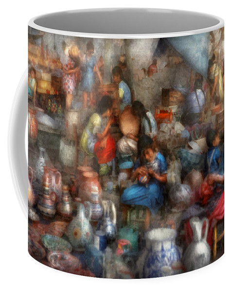 Market Coffee Mug featuring the photograph Store - The Busy Marketpalce by Mike Savad