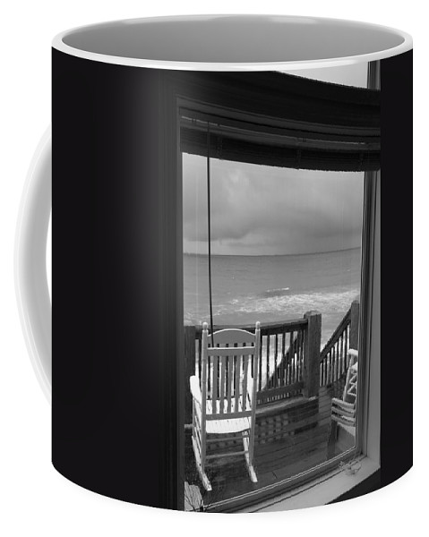 Beach Coffee Mug featuring the photograph Storm-rocked Beach Chairs by Betsy Knapp