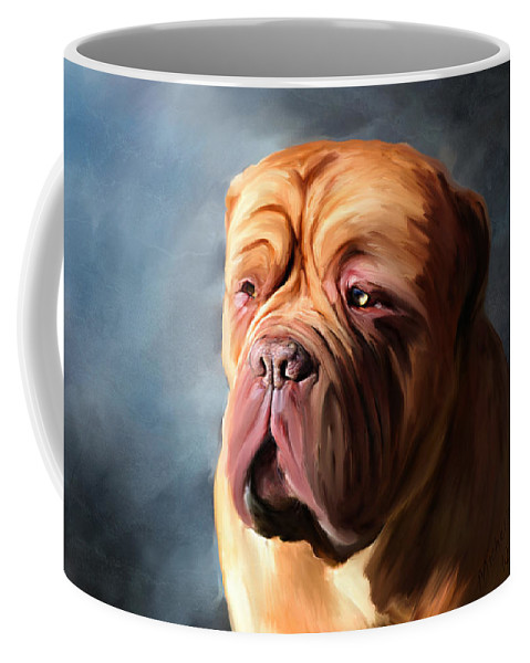 Dog Coffee Mug featuring the painting Stormy Dogue by Michelle Wrighton