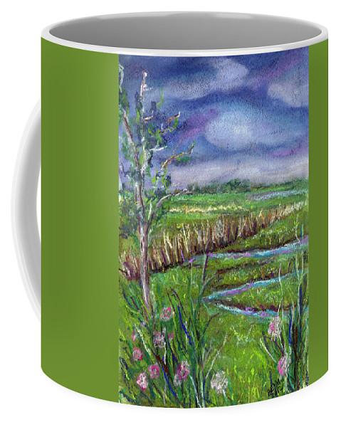 Pastel Coffee Mug featuring the painting Stormy Wetlands by Clara Sue Beym