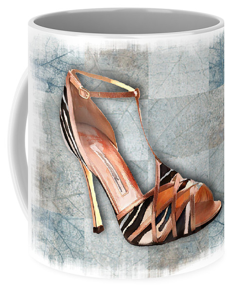 Shoes Heels Pumps Fashion Designer Feet Foot Shoe Stilettos Painting Paintings Illustration Illustrations Sketch Sketches Drawing Drawings Pump Stiletto Fetish Designer Fashion Boot Boots Footwear Sandal Sandals High+heels High+heel Women's+shoes Graphic Sophisticated Elegant Modern Coffee Mug featuring the painting Strappy Striped Sandal by Elaine Plesser