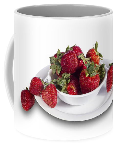 Art Coffee Mug featuring the photograph Strawberries In A White Bowl No.0029v1 by Randall Nyhof