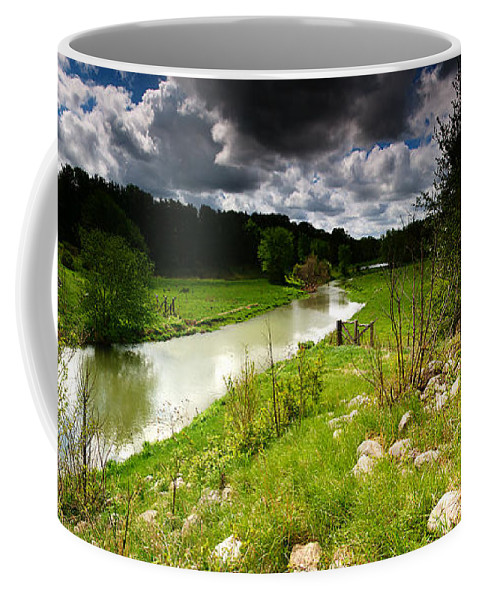 Pano Coffee Mug featuring the photograph Stream Pano by Cale Best