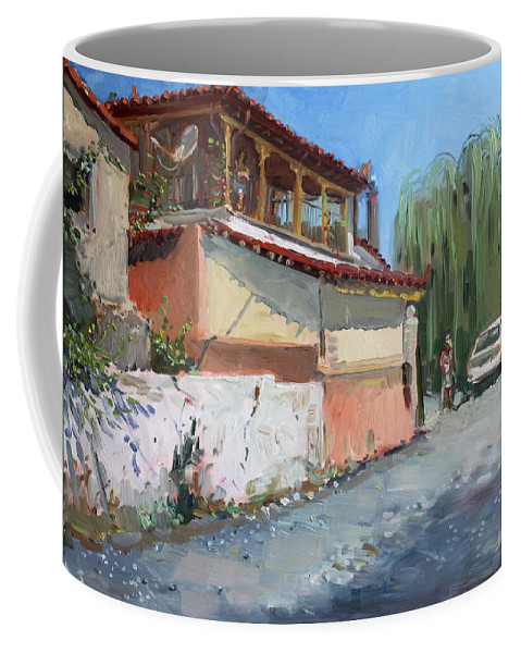 House Coffee Mug featuring the painting Street In A Greek Village by Ylli Haruni