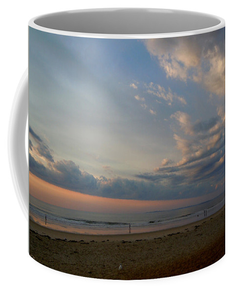 Beach Coffee Mug featuring the photograph Strolling At Sunrise On The Shore Of Maine by Nancy Griswold