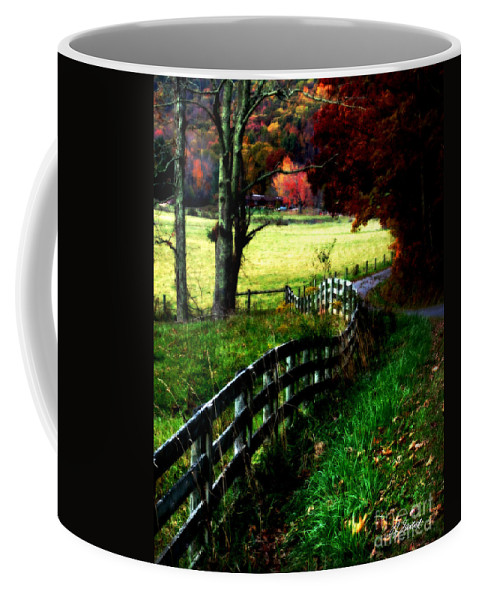 Fall Coffee Mug featuring the digital art Strolling Down The Old Country Road by Lj Lambert